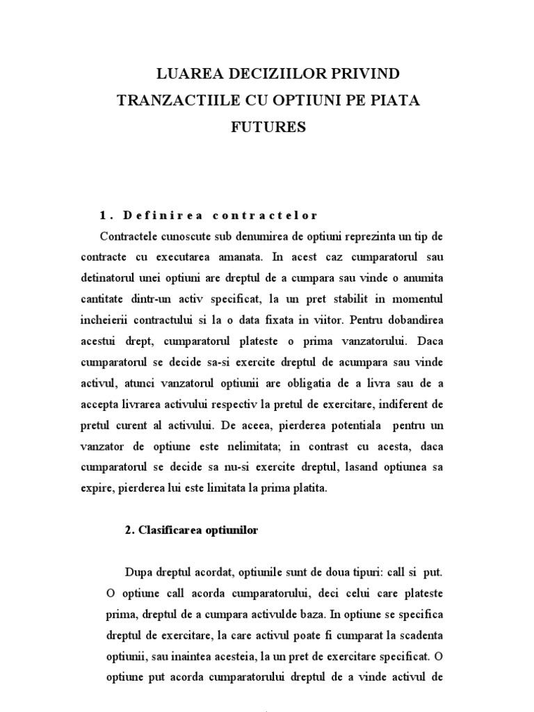 exemple de tranzacții cu opțiuni