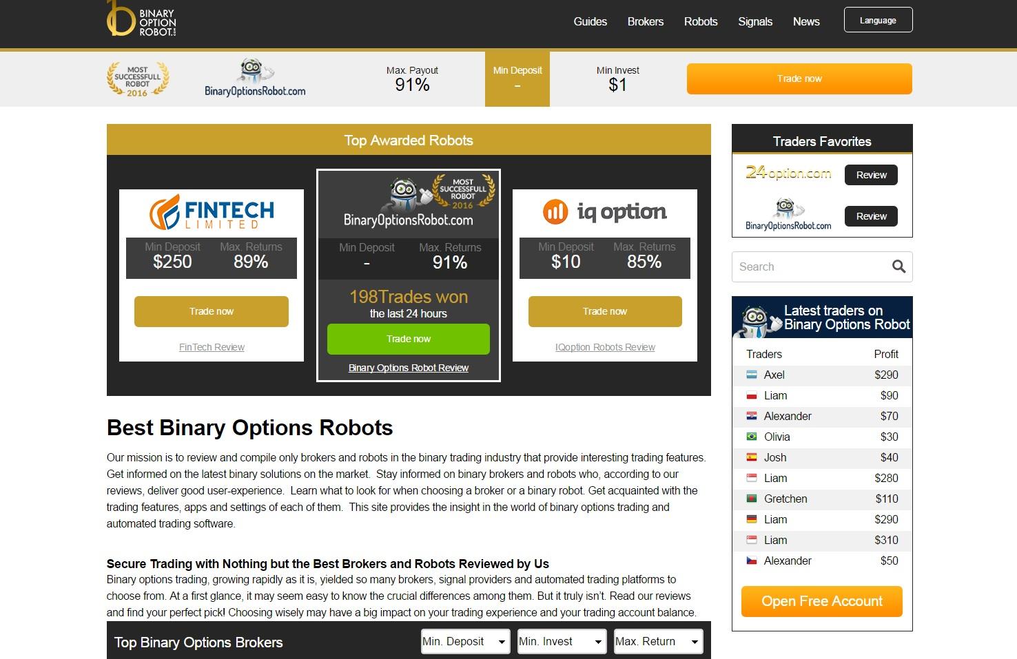 roboți plătiți pentru opțiuni binare